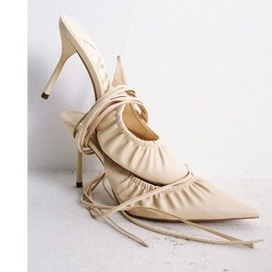 Zara off white pointed toe tie back ruched heels